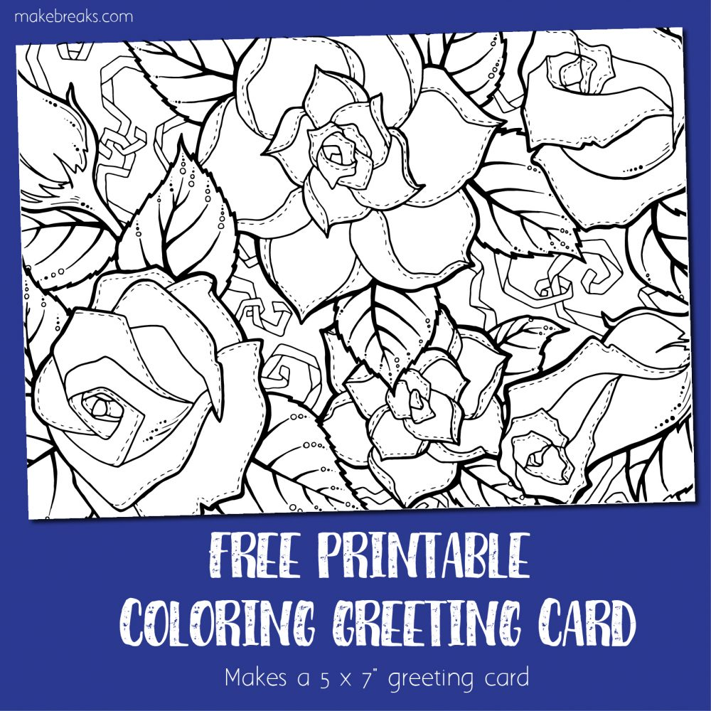 Coloring Card 3 - Greeting Card to Color (Roses)