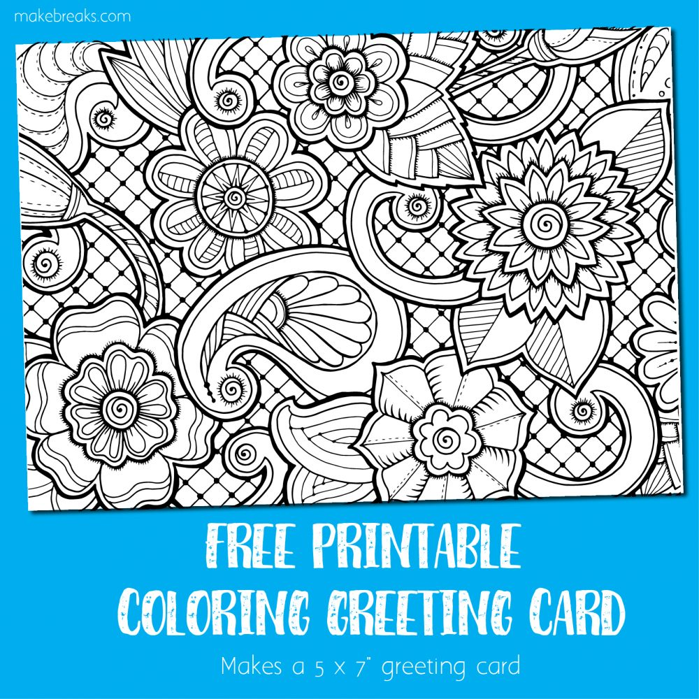 Coloring Card Greeting Card to Color Make Breaks