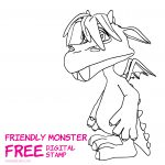 Friendly MonsterFree Digital Stamp