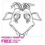 Funny Monster Head Free Digital Stamp