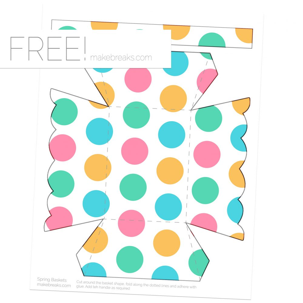 Spring easter printable basket template dot pattern make breaks this is a printable paper basket which feature a pretty easter or spring pattern this is part of a set of printables which feature this set of designs and maxwellsz