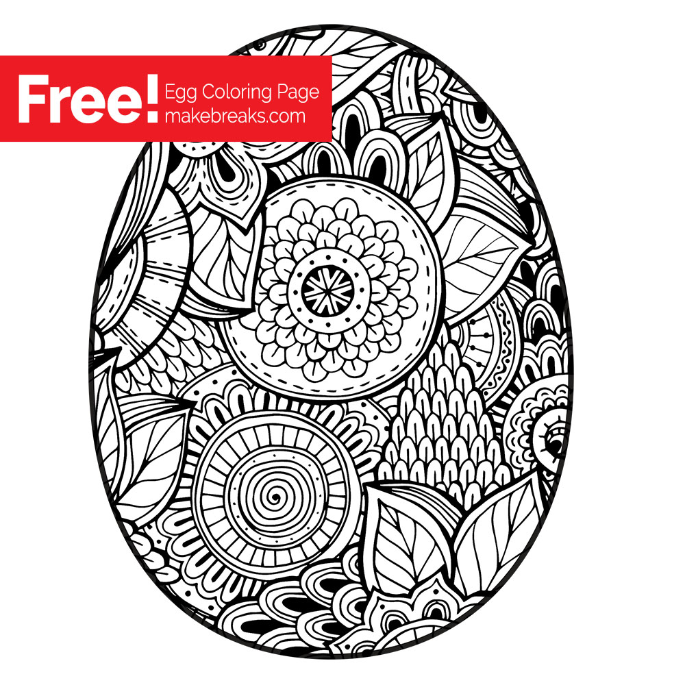 Wonderful Free Easter Egg Coloring Page