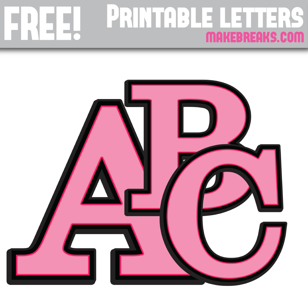 Pink With Black Edge Free Printable Alphabet - Make Breaks