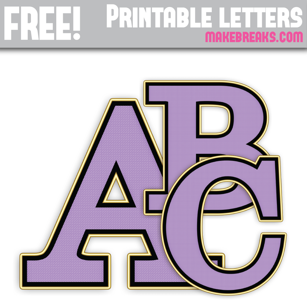Free printable purple and gold edged letters