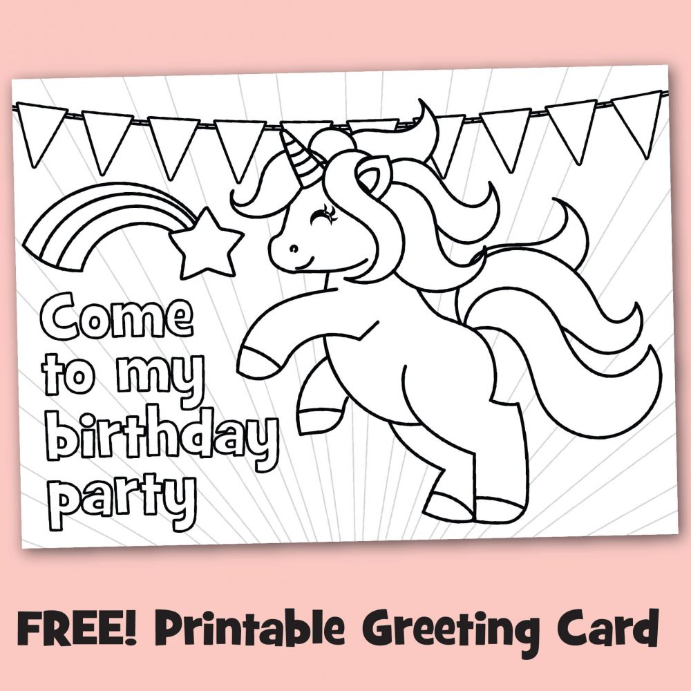 Free Printable Black & White Birthday Party Invitations To Color ...