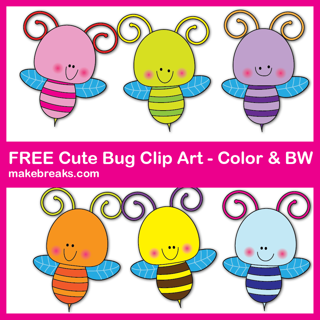 Free cute bug clip art for teachers and home schoolers