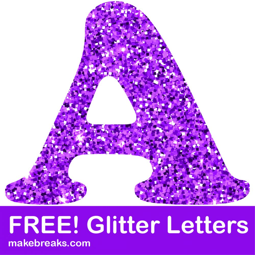 Free purple glitter letters to download
