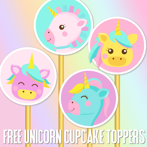 Free unicorn cupcake toppers for unicorn parties