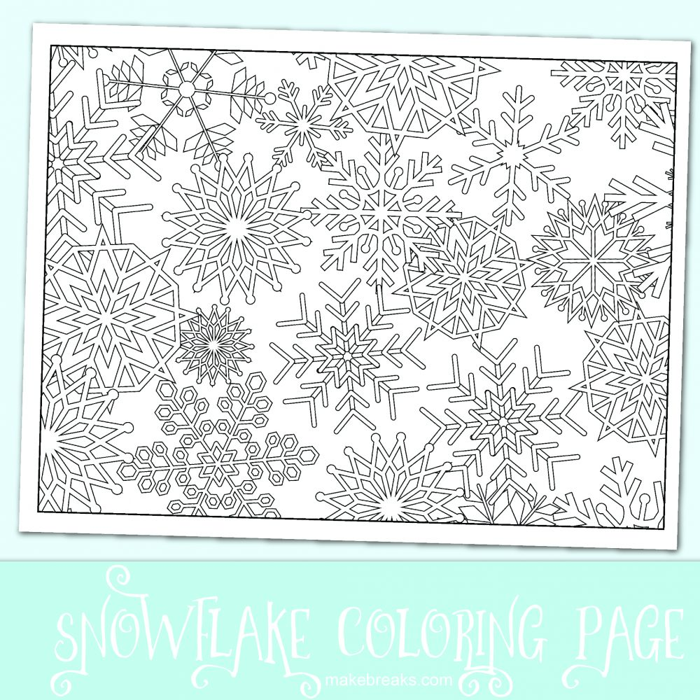 Free snowflake coloring page for Christmas and holidays coloring