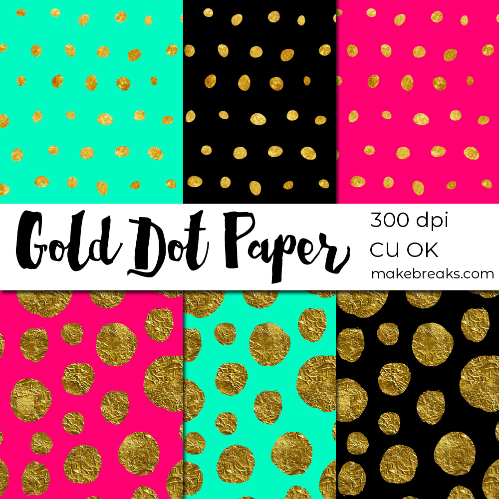 Free gold dot digital paper to download in contemporary colors