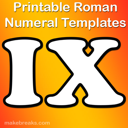 Outlines Roman Numerals Templates For