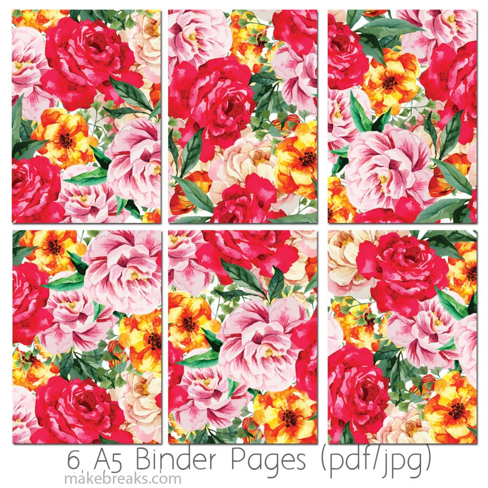a5 printable rose pattern planner page dividers