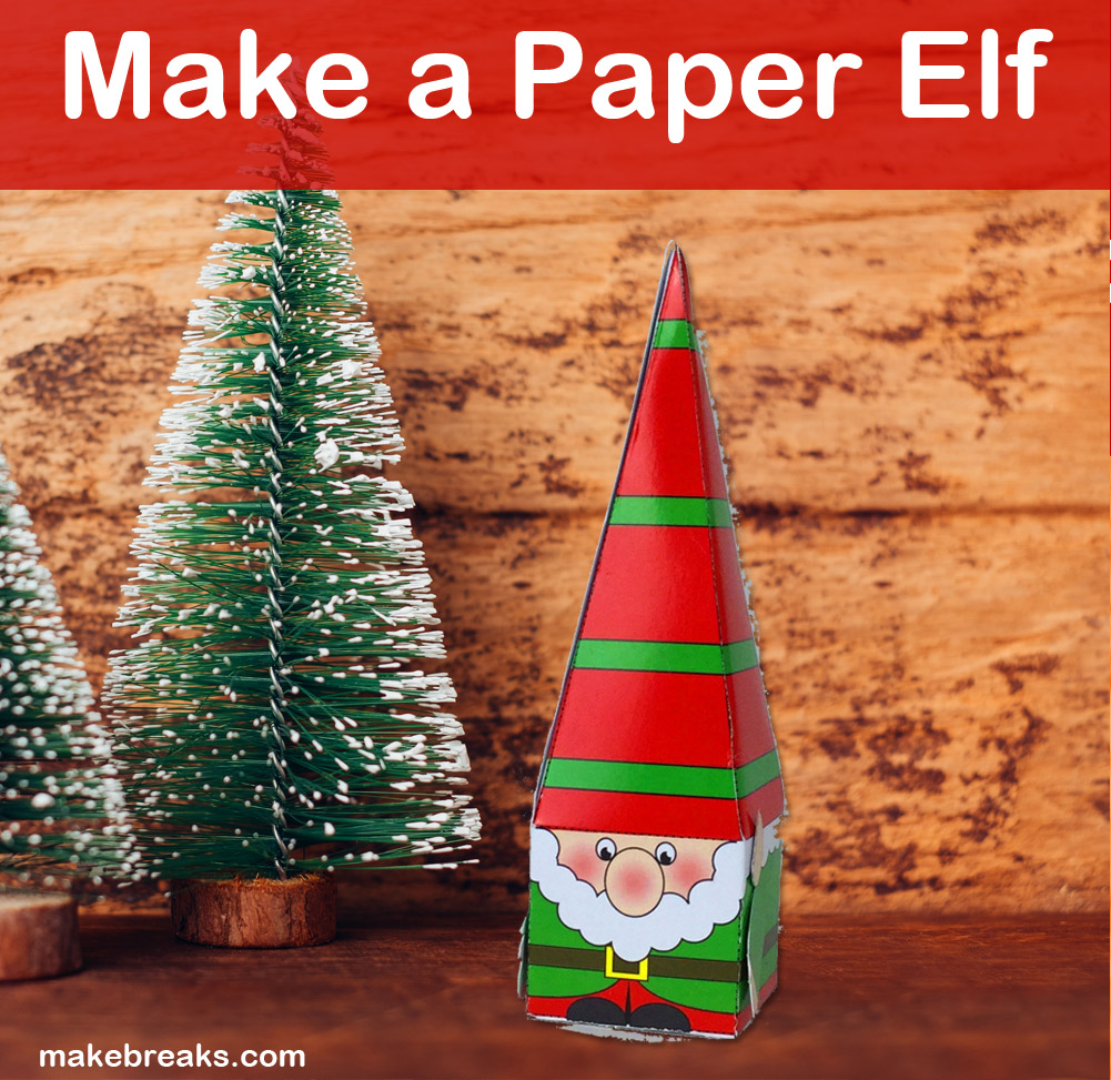 Paper Christmas elf created from free template