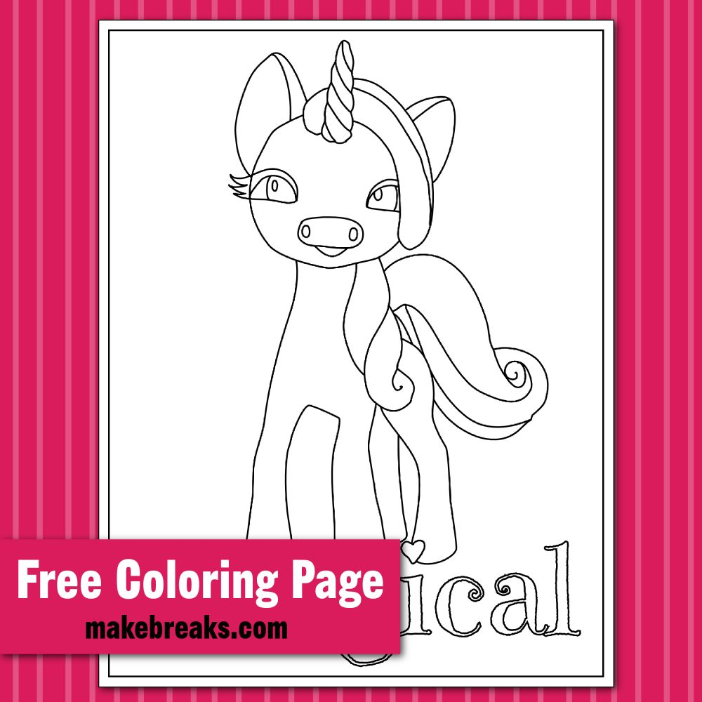 - Magical Unicorn Coloring Page - Make Breaks